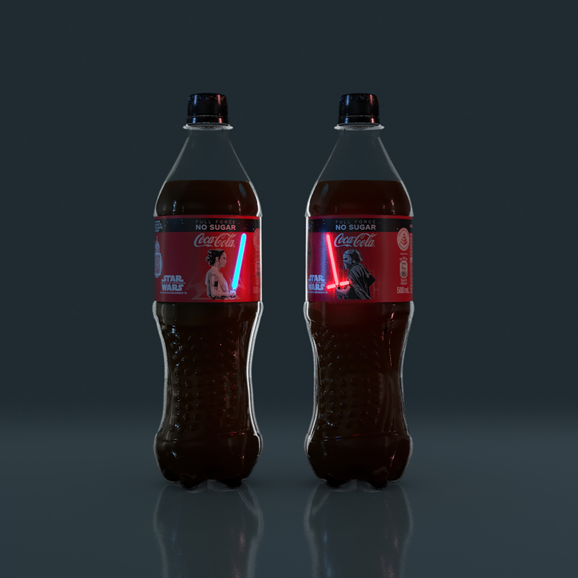 Limited Coca-Cola bottles with glowing shrink-sleeve labels with Rey and Kylo Ren