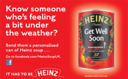 Personalised self-adhesive label on Heinz tins