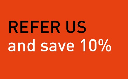 """REFER US and save 10%"" promotion rules"